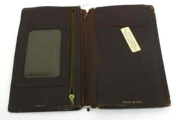 Meeker Vintage Fine Morocco Leather Bi-fold Case Wallet Pocket Checkbook