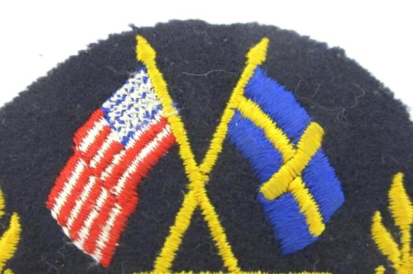Vintage United States USA and Sweden Flags Patch Chicago Round Never Used