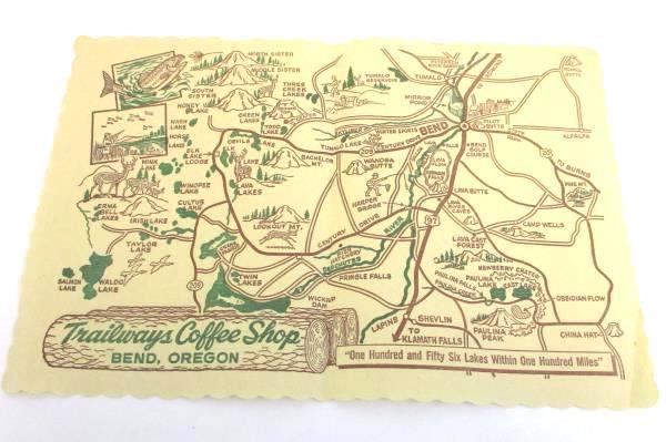 Trailway Coffee Shop Restaurant Menu & Placemat Bend, Oregon