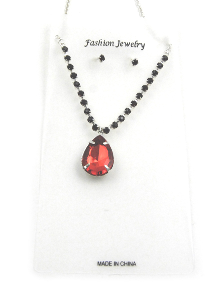 RED Crystal Pendant Silver Necklace and Earrings Set