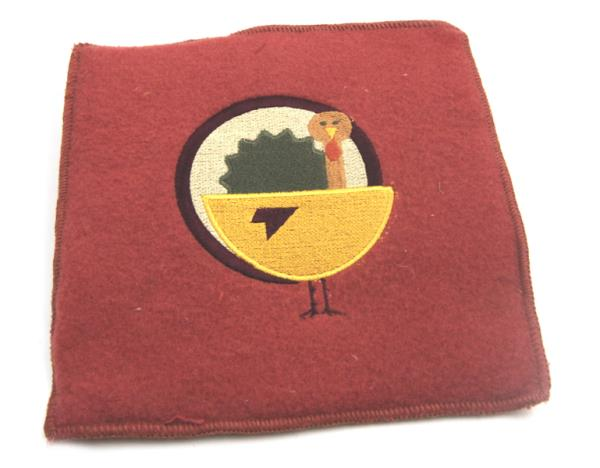 Thanksgiving Harvest Fall Autumn TURKEY Red Square Pot Holder Wool Blend New