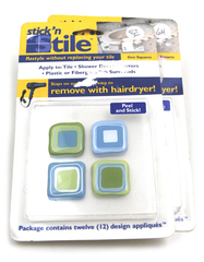 STICK' N STILE Geo Squares Style D 24 Design Appliques Peel & Stick