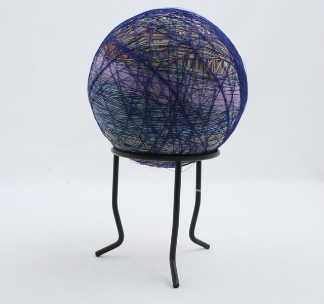 """LARGE Ball Of Thread  With Stand 5.5"""" Diameter"""