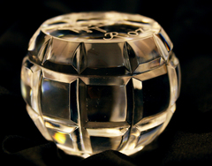 """Laser Crystal Paperweight  Etched With Piano And  """"Roz"""""""
