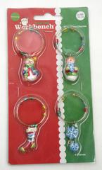 Santa's Workbench WINE GLASS CHARMS Snowman Stocking Snowflake New