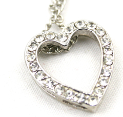 """15"""" Silver Heart Shaped Necklace With Clear Gemstones"""