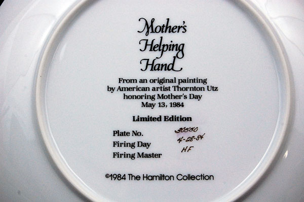 Mother's Day Plate MOTHER'S HELPING HAND Thornton Utz Son Mom Sitting on Lap '84