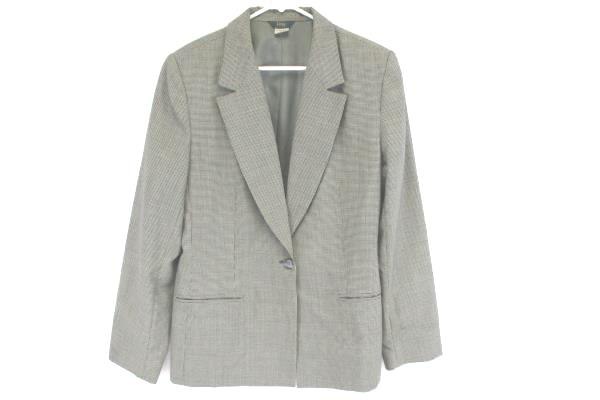 H&W Women's Lined 100% Wool Blazer Size 12, Houndstooth Black & White