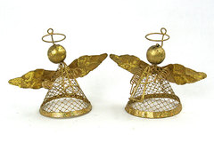 "3.5"" Golden Angel Ornaments - Musical Duo - Set of 2"