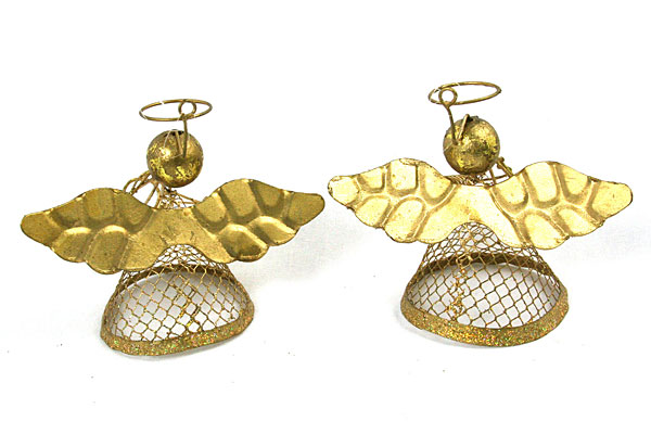 """3.5"""" Golden Angel Ornaments - Musical Duo - Set of 2"""