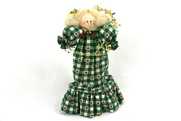 """9"""" Angel Ornament w/ Green Checkered Dress and Red Hearts"""