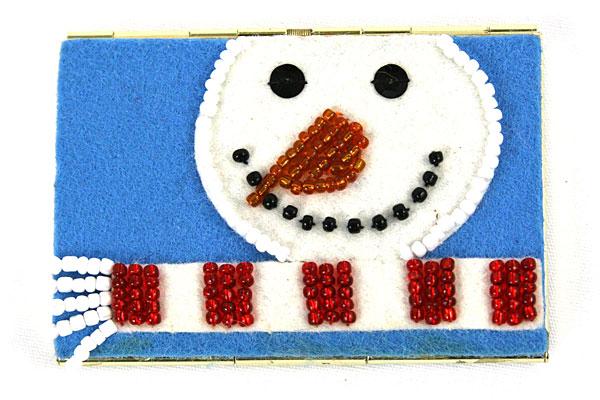 Blue Felt MONEY / CARD HOLDER - Snowman w/ Beads