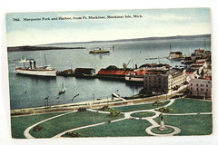 7542 Marquette Park and Harbor from Ft. Mackinac Isle Michigan Postcard