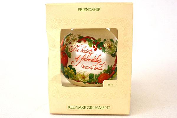Hallmark Satin Ornament Friendship Dated 1981
