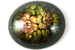 Large Flowers Finely Hand Painted Russian Lacquerr Brooch