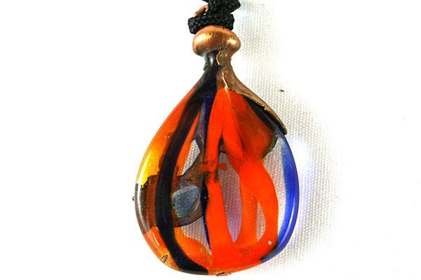 """15.5"""" Art Nouveau Brass and Orange Glass Necklace Black Cording"""