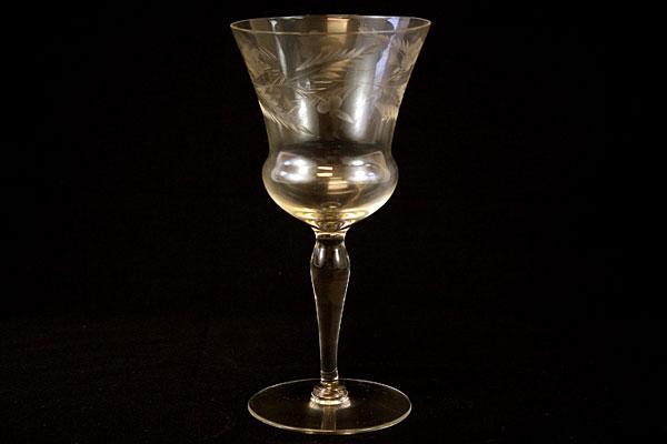 Crystal Water Glasse Floral Vine Design (As-Is)