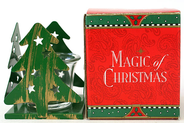 Magic of Christmas GREEN Metal Tree Shaped Candle Holder by Papel Freelance