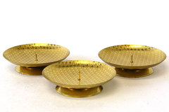 Gold Tone Star Covered Candle Holders - Set of 3