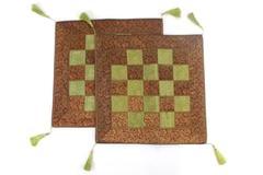 Set of 2 Square Jewel Toned Pillow Shams Dubai India Basket Weave Pattern 16x16