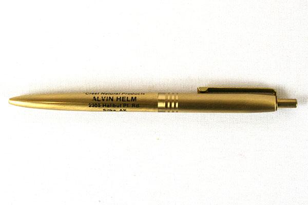 Vintage Gold Ballpoint Pen Crest Natural Products Alaska
