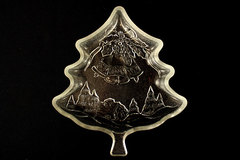 Bali Pressed Glass Christmas Tree Shaped Candy Tray