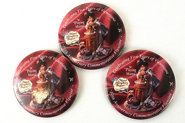 Maud Humphrey Bogart 5th Anniversary Victoriana Commemorative Buttons - Set of 3