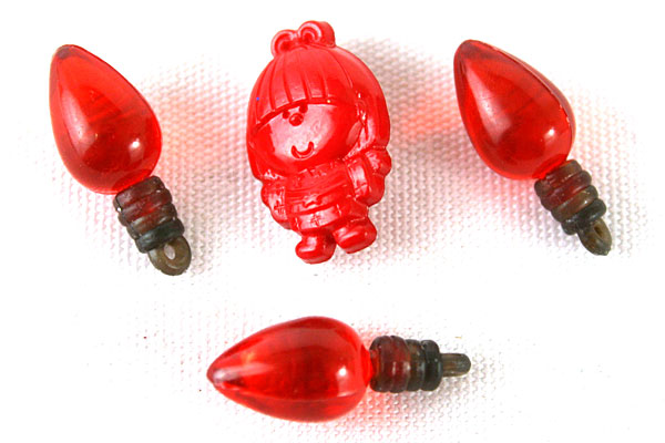 Lot of 3 Minature Red Light Bulb Pendants & Red Whimsical Girl Sewing Button