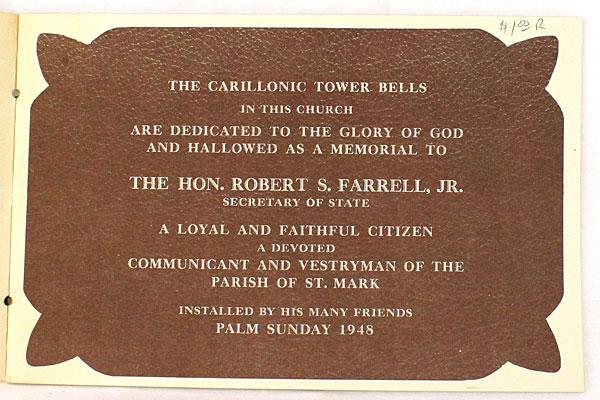 The Carillonic Bells of St. Mark's Memorial To Robert S. Farrell Jr. Booklet