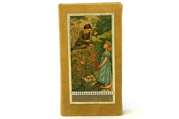 Victorian Scene ~  Boy And Girl In A Garden Gold Velvet Photo Album