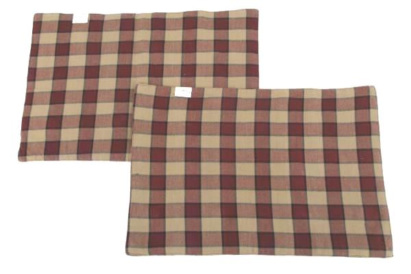 2 Country Red Kitch USA Flag Patriotic Cloth Placemats & Cream Napkins