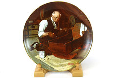 Knowles Rockwell's Golden Moments Grandpa's Gift Baby Cradle Collector Plate