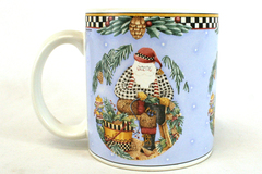 Debbie Mumm Sakura Onieda Woodland Santa Genuine Stoneware Coffee Mug