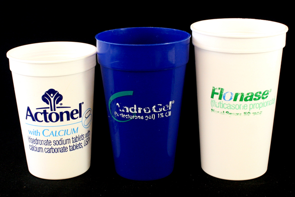 Set of 3 Pharmaceutical Drug Plastic Cups - Actonel / AndroGel / Flonase