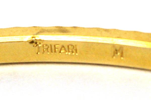 Gold Tone Trifari M Bangle Bracelet