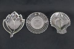 Set of 3 Clear Pressed Glass Candy Nut Appetizer Dishes Shell Leaf Round Hobnail