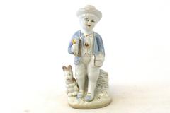 Vintage Porcelain Boy With Gold Gild Horn And Rabbit Figurine