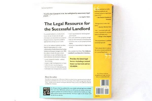 7th Edition - California Landlord's Law Book Vol. 1 w/ CD-ROM 2001 NOLO Law