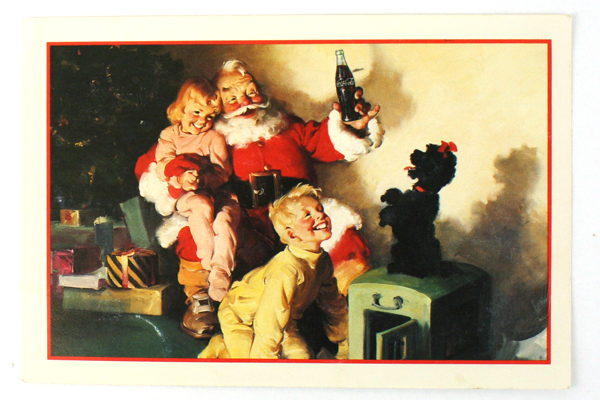 1991 Coca-Cola Vintage Christmas Ad Postcard Haddon Sundblom Santa Circa 1964
