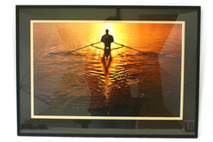 Framed & Matted Photograph Man In Canoe/Kayak Paddling Into Sunset