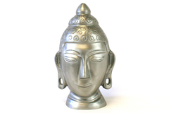Hollow Silver Colored Metal Bust Of Buddha