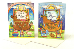 Set of 2 Sunrise Inc It's A Girl & It's A Boy Illustrated Cards w/ Envelopes