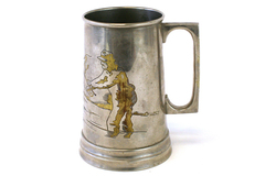 Vintage Brass And Silver Tone Fisherman Tankard From Occupied Japan