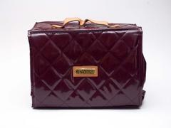 JOY & IMAN Burgundy Quilted Makeup Bag Cosmetics Beauty Tote with Zip Pouches