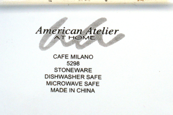 """10"""" Cafe Milano American Atelier At Home Square Stoneware Plate 5298"""