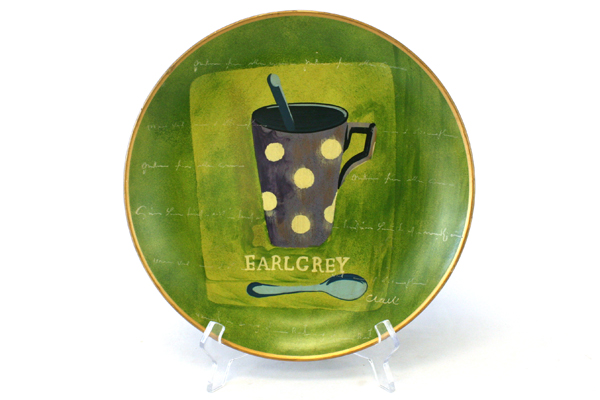 """Oriental Accent Earl Grey Decor Wall Hanging 10.5"""" Round Plate"""