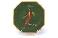 Oriental Accent Pottery Piment Rouge Cayenne Vegetable Decor Plate 10""