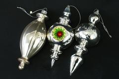 Lot Of 3: Silver Colored Decorative Ornaments - Snowflake Green Red Sunburst