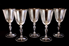 Lot 5 Crystal Water Goblets (As-Is)