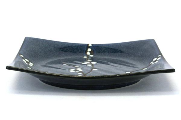 Uwajimaya Square Shaped Blue Glazed Pottery Plate with White Flower Pattern
